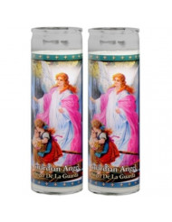 Set of 2 Guardian Angel Prayer Candles 2 Veladoras Del Angel De La Guarda