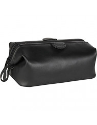 Royce Leather Travel Toiletry Wash Bag in Leather, Black