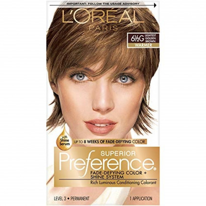 L'Oreal Paris Superior Preference Fade-Defying Color + Shine System, 6.5G Lightest Golden Brown(Packaging May Vary) , 1 Count