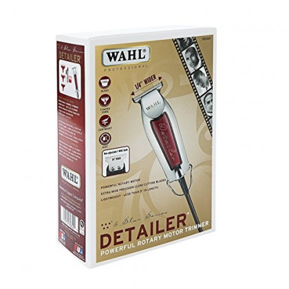 """Wahl Professional Series Detailer #8081 - With Adjustable T-Blade, 3 Trimming Guides (1/16"""" - 3/16""""), Red Blade Guard, Oil, Cleaning Brush and Operating Instructions, 5-Inch"""