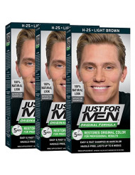 Just For Men Original Formula Men's Hair Color, Light Brown (Pack of 3)
