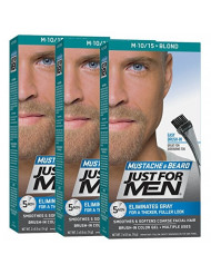 Just For Men Mustache & Beard, Beard Coloring for Gray Hair with Brush Included - Color: Blond, M-10/15 (Pack of 3)