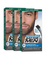 Just For Men Mustache & Beard, Beard Coloring for Gray Hair with Brush Included - Color: Dark Brown, M-45 (Pack of 3)