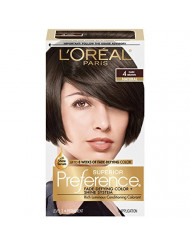 L'Oreal Paris Superior Preference Fade-Defying + Shine Permanent Hair Color, 4 Dark Brown, 1 kit Hair Dye