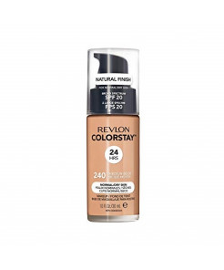 Revlon ColorStay Makeup for Normal/Dry Skin SPF 20, Longwear Liquid Foundation, with Medium-Full Coverage, Natural Finish, Oil Free, 240 Medium Beige, 1.0 oz