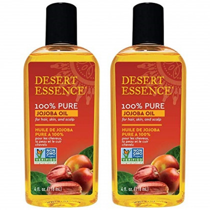 Desert Essence 100% Pure Jojoba Oil - 4 Fl Oz - Pack of 2 - Haircare & Skincare Essential Oil - All Skin Types - No Oily Residue - May Help Prevent Flakiness - Makeup Remover - Aftershave Moisturizer