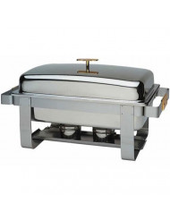 Update International (GC-7) 8 Qt Stainless Steel Rectangular Gold-Accented Grandeur Chafer