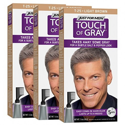 Just For Men Touch Of Gray Comb-In Men's Hair Color, Light Brown (Pack of 3)