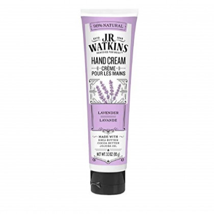 J.R. Watkins Natural Moisturizing Hand Cream, Lavender, Single, Hydrating Hand Moisturizer with Shea Butter, Cocoa Butter, and Avocado Oil, USA Made and Cruelty Free, 3.3oz