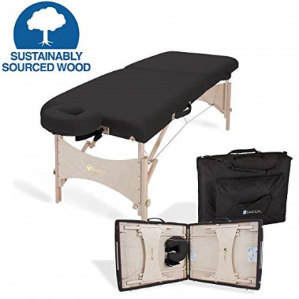 "EARTHLITE Portable Massage Table HARMONY DX - Eco-Friendly Design, Hard Maple, Superior Comfort, Deluxe Adjustable Face Cradle, Heavy-Duty Carry Case (30"" x 73""), Black"