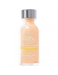 L'Oreal Paris Makeup True Match Super-Blendable Liquid Foundation, Nude Beige W3, 1 Fl Oz,1 Count
