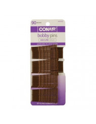 Conair Color Match Bobby Pins, Brunette, 1-Pack of 90-Pieces
