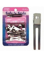 SOFT 'N STYLE Salon Beauty Double Prong Pin Curl Clips 12 CD HC-CD14012