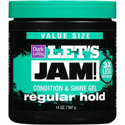 Hair Gel by SoftSheen-Carson Dark and Lovely Let's Jam, Shining and Conditioning Gel, Regular Hold, For all Hair Types, Styling Gel Also Great for Braiding, Twisting & Smooth Edges, Value Size 14oz