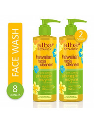 Alba Botanica Pore Purifying Pineapple Enzyme Hawaiian Facial Cleanser, 8 oz. (Pack of 2)