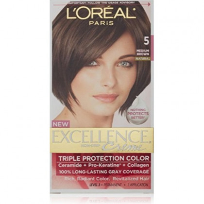 L'Oreal Excellence Triple Protection Color Creme, Medium Brown Natural 5 (Pack of 3)