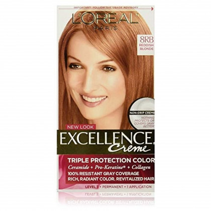 L'Oreal Excellence Triple Protection Color Creme, Level 3 Permanent, Reddish Blonde/Warmer 8RB (Pack of 3)