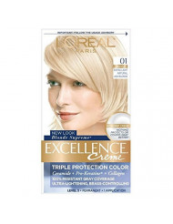 L'Oreal Paris Excellence Creme Haircolor, Extra Light Ash Blonde [01] (Cooler) 1 ea (Pack of 3)