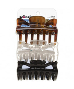Scunci Effortless Beauty Basic Jaw Clips, Assorted Colors, 3-Count