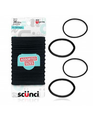 Scunci No Damage Assorted Size 4mm & 2mm Elastics, 36 Count (Pack of 1)