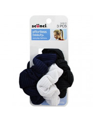 Scunci Effortless Beauty 2x2 Ribbed Twisters, Colors May Vary, (3 Count Per Pack)