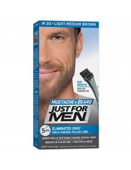 Just For Men Mustache & Beard, Beard Coloring for Gray Hair with Brush Included - Color: Light-Medium Brown, M-30