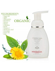 Sweetsation Therapy Organic C'Perfect Skin Foaming Gentle Face Cleanser Wash with Vitamin C, Hualuronic Acid, Papaya, Watermelon, Calendula, Green Tea 8oz. For all skin types, even sensitive.