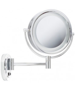 Jerdon HL165CD 8-Inch Lighted Wall Mount Direct Wire Makeup Mirror with 5x Magnification, Chrome Finish