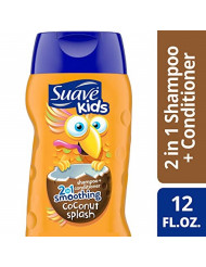 Suave Shampoo Kids Coconut Smoothers 2-in-1 Shampoo & Conditioner, Value Pack, 12 Fl Oz Bottles, Pack of 6
