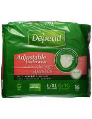 Depend Maximum Absorbency Adjustable Underwear with Velcro Closures Size L/XL 16 Count Package