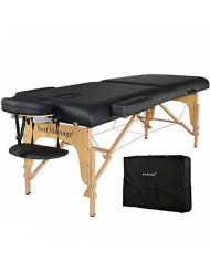 "Massage Table Portable Massage Bed Spa Bed 77""Long 28""Wide Heigh Adjustable 2 Fold 3""Thick Density Sponge PU Portable Massage Table Bed w/Carry Case Facial Cradle Salon Tattoo Bed"