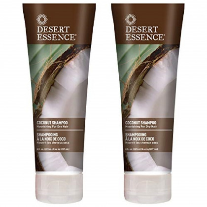Desert Essence Coconut Shampoo - 8 Fl Ounce - Pack of 2 - Intense Moisturization - Healthy Hair - Restores Natural Luster - Coconut Oil - Jojoba Oil - Olive Oil - Cruelty-Free - Parabens-Free