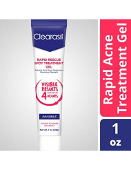 Clearasil Rapid Rescue Spot Treatment Gel, Invisible-Medicated Salicylic Acid Acne Treatment. Begins Working Instantly, Results As Fast As 4 Hours, Keeps Treating Pimples After Use, 1 oz.