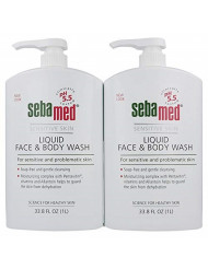 Sebamed Paraben-Free Face and Body Wash With Pump for Sensitive and Delicate Skin pH 5.5 Ultra Mild Dermatologist Recommended Cleanser 33.8 Fluid Ounces (1 Liter) Set of 2 Value Pack