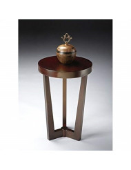 Butler Contemporary Round Accent Table in Merlot Cherry Finish