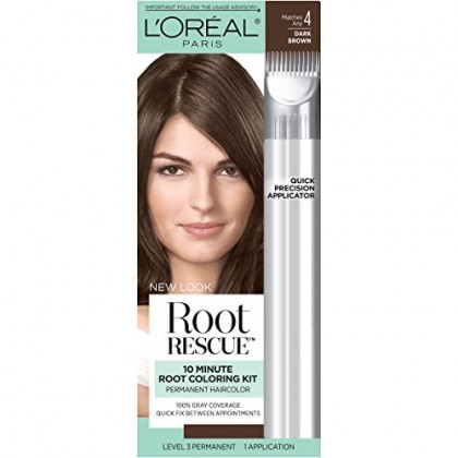 L'Oreal Paris Magic Root Rescue 10 Minute Root Hair Coloring Kit, Permanent Hair Color with Quick Precision Applicator, 100% Gray Coverage, 4 Dark Brown, 1 kit