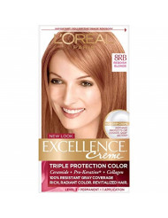 L'Oreal Paris Excellence Creme Permanent Hair Color, 8RB Medium Reddish Blonde, 1 kit 100% Gray Coverage Hair Dye