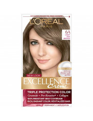 L'Oreal Paris Excellence Creme Permanent Hair Color, 6A Light Ash Brown, 1 Count kit 100% Gray Coverage Hair Dye