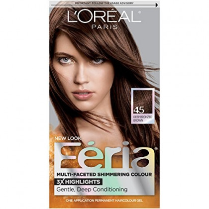 L'Oreal Paris Feria Multi-Faceted Shimmering Permanent Hair Color, 45 French Roast (Deep Bronzed Brown), 1 kit Hair Dye