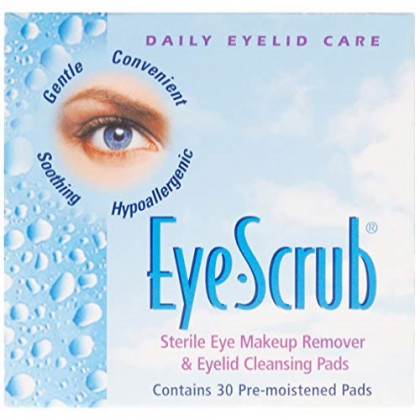 Eye Scrub Sterile Eye Makeup Remover & Eyelid Cleansing Pads 30 ea (Pack of 3)