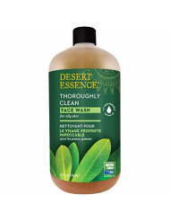 Desert Essence Thoroughly Clean Face Wash - Original - 32 Fl Oz -Tea Tree Oil -For Soft Radiant Skin - Gentle Cleanser - Extracts Of Goldenseal, Awapuhi, & Chamomile Essential Oils