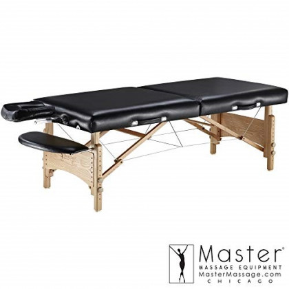 "Master Massage 32"" Olympic LX Massage Table, Black, Perfect for Larger Clients"