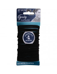 Goody Ouchless Elastic Thick, Black, 27 Count (Pack of 2)
