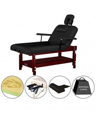 "Master Massage 31"" Montclair Stationary-Spa salon Massage Table Pro, Black, Lift Back with Memory Foam"
