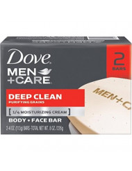 Deep Clean Body and Face Bar by Dove for Men-2 x 4 oz Soap