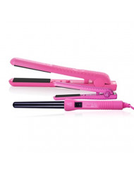 Herstyler Complete Flat Iron and Curling Iron Set - Dual Voltage Curler Straightener Set - Hair Curler and Straightener Pack for Salon Styled Tresses - Pink