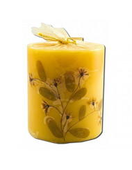 3 in Pillar (2-3/4 in x 3 in) Flower Candles Patchouli Auroshikha Candles & Incense 1 Candle