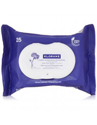 Klorane Make-up Remover Biodegradable Wipes with Soothing Cornflower for Sensitive Skin, Fragrance , Sulfate, and Alcohol Free
