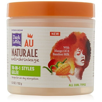 Curly Hair Products by SoftSheen-Carson Dark and Lovely Au Naturale 10-in-1 Styles Gelèe, with Mango Oil and Bamboo Milk, For all Curl Types, Paraben Free, 5.3 oz