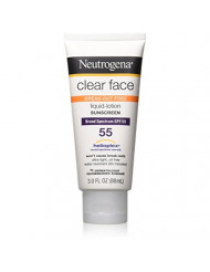 Neutrogena Clear Face Liquid Lotion Sunscreen for Acne-Prone Skin, Broad Spectrum SPF 55, Oil-Free and Fragrance-Free, 3 fl. oz (Pack of 2)